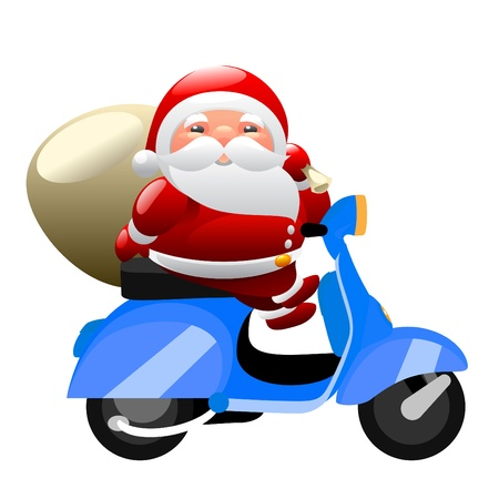 Santa riding a scooter Vector