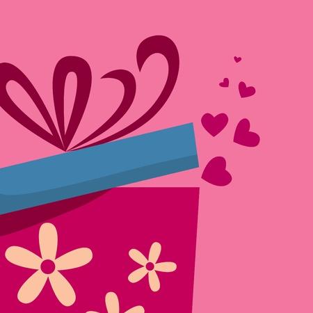 Geschenkbox mit fly Herzen Vektorgrafik