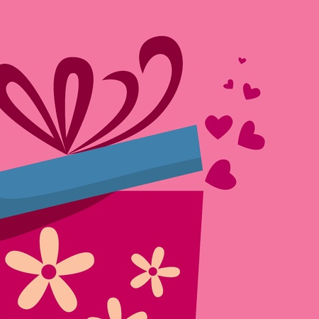 Gift box with fly hearts Vector