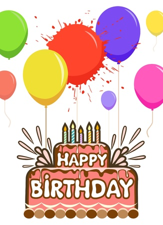 birthday cake with balloons Vector