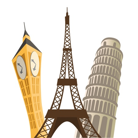 eiffel tower, pisa tower and big ban. Vector