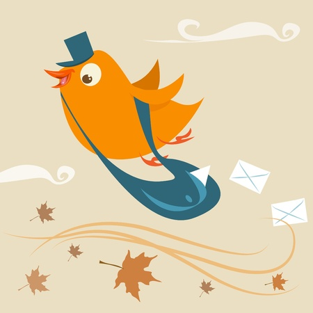 mail delivery bird Illustration