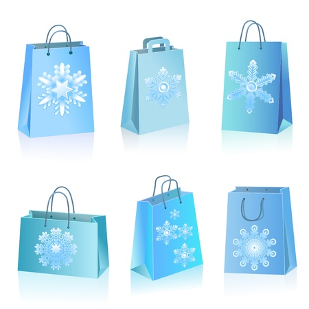 store front: Blue paper bags with snowflakes icon