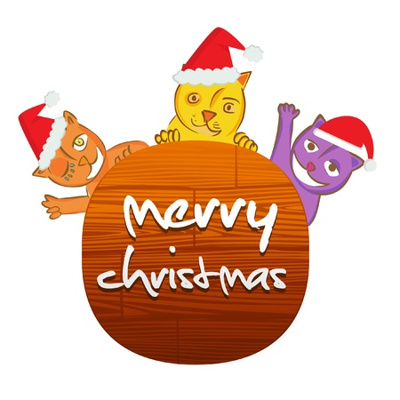 christmas cat with wooden message board  Vector