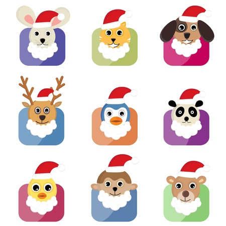 cute animal head with santa hat Vector