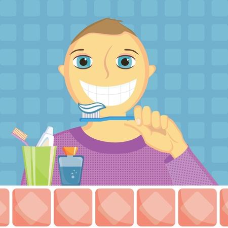 aseo personal: niño limpia los dientes Vectores
