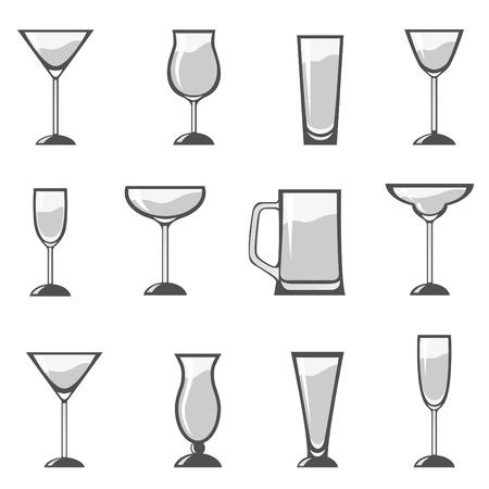 whiskey: Множество алкоголя стекла Иллюстрация