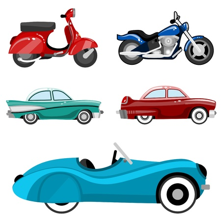 classic cars and motorcycles Illustration