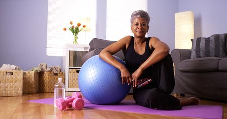 Happy healthy black grandma photo