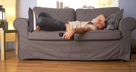 couch: Man having trouble sleeping