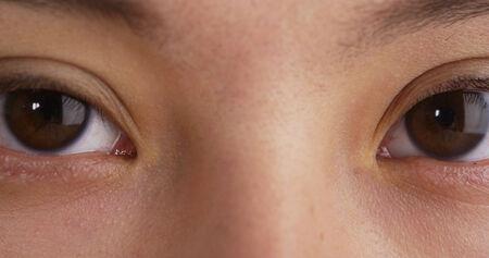 eye brow: Closeup of Mixed Race womans eyes Stock Photo