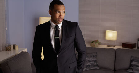 Handsome black man wearing a suit photo