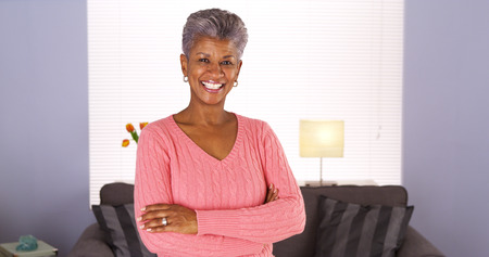 Happy Senior African Woman Stockfoto