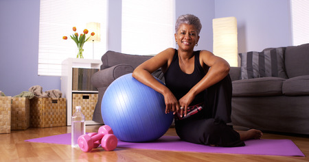 African grandmother happy after working out photo