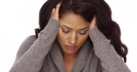 menopause: Mexican woman with anxiety Stock Photo