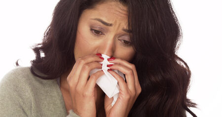 Sick Mexican woman Stock Photo