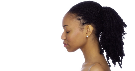 black women hair: Profile of black woman Stock Photo