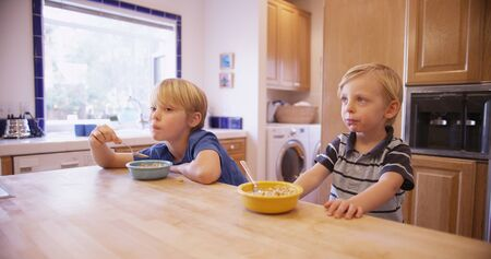 comiendo cereal: Two young handsome brothers eating cereal together.