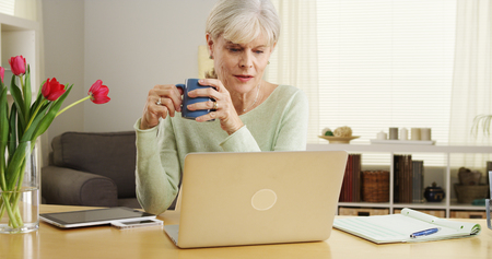 Elderly woman laptop computer desk smiling