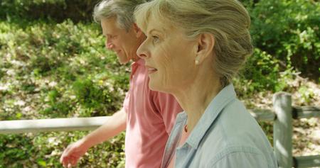 Portrait of senior couple walking at a park