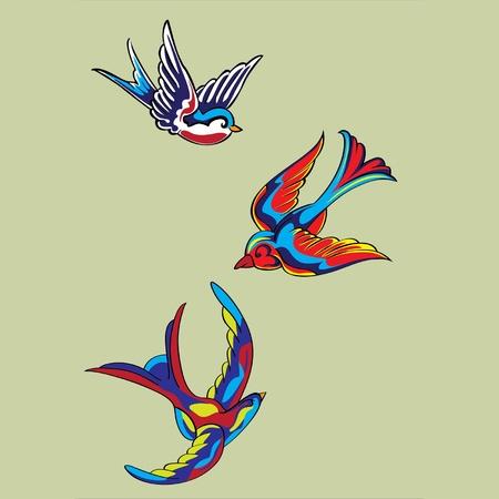 golondrinas: las aves vuelan colores
