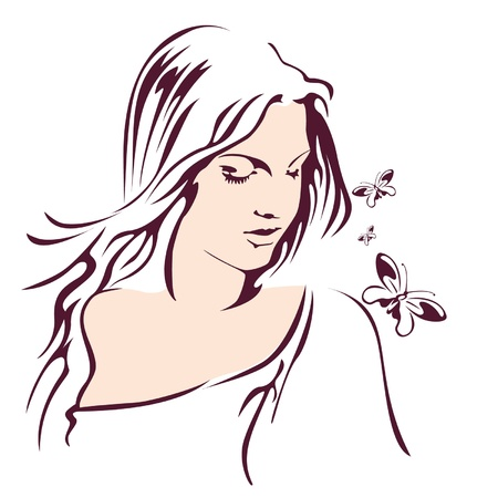 eyelash: girl with butterfly   Illustration