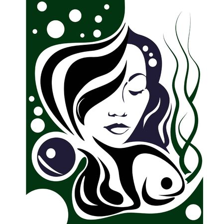 woman in seaweed and pearl with fish   Vector
