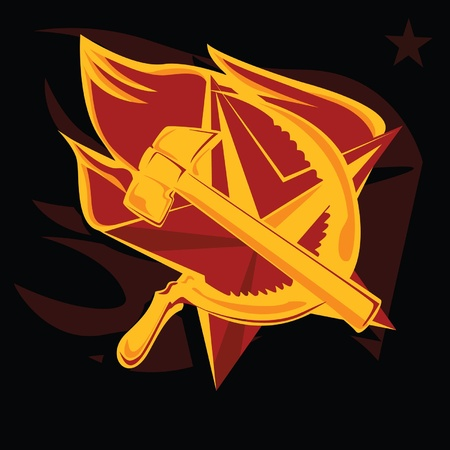 communism: hammer and sickle on the flame star communism symbol