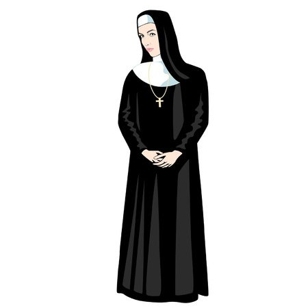 christian halloween: Nun in black with Cross
