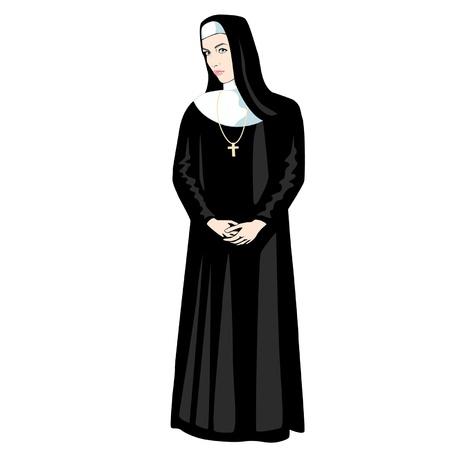 nun: Nun in black with Cross