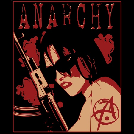 anarchism: girl in sunglasses with shotgun