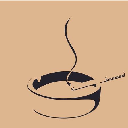sigaretta: fumo di sigaretta e silhouette posacenere Vettoriali