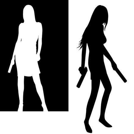 isolated girls with gun silhouette   Vector