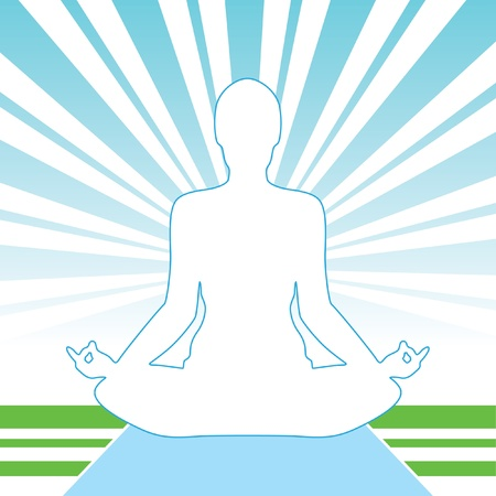 man meditating: Pose Yoga Silhouette Isolated On The Light Background