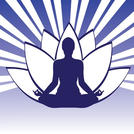 yoga silhouette: Pose Yoga Silhouette Isolated On The Lotos Background Illustration