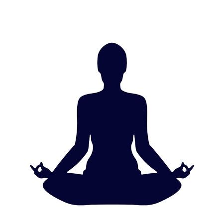 Pose Yoga Silhouet op een witte achtergrond
