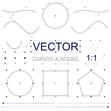nodes: Vector Curves and Nodes Interface Artboard Elements Illustration