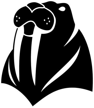 tusk: Walrus simple figure black and white illustration