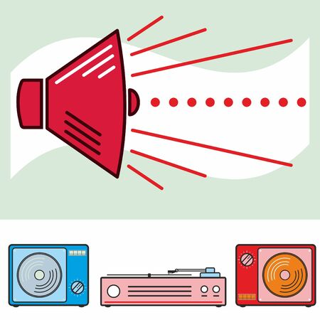 speaking trumpet: Retro speaker and audio isolated objects Illustration