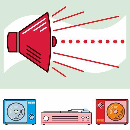 izole nesneleri: Retro speaker and audio isolated objects Çizim