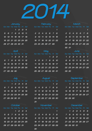 Calendar year template | dark blue design Vector