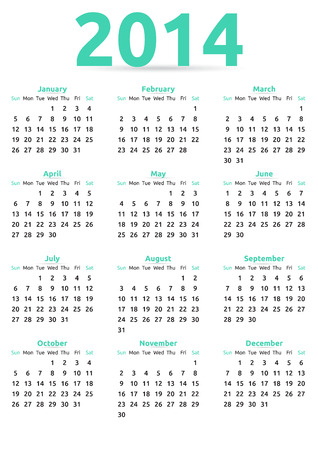 Calendar year template | white clear design Vector