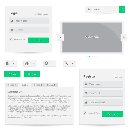 slideshow: Web template |silver color with green | login register slideshow buttons search options | abstract elements with icons