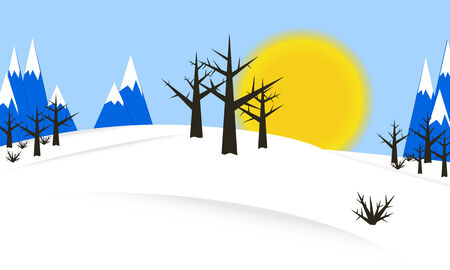 Nature background template winter with sun, trees, mountains and snow  Vector