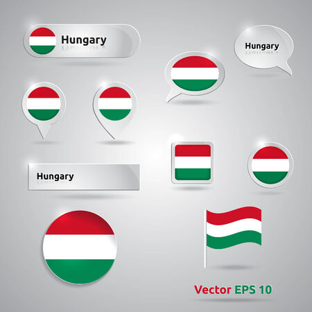 Hungary icon set of flags | green white red template | Hungary Vector