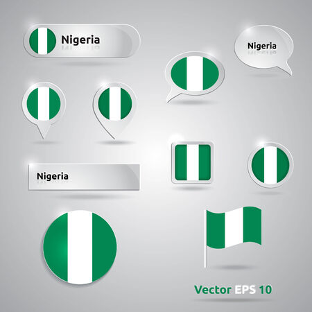 Nigeria icon set of flags | green white template | Nigeria Vector