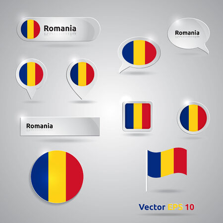 Romania icon set of flags | red yellow blue template | Romania Vector