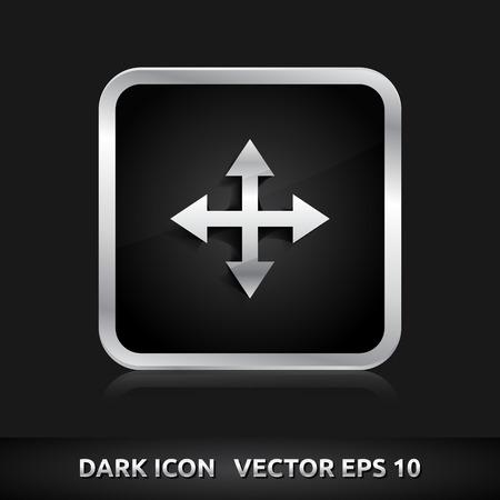 maximize: Maximize arrows icon   color dark black silver metal grey white