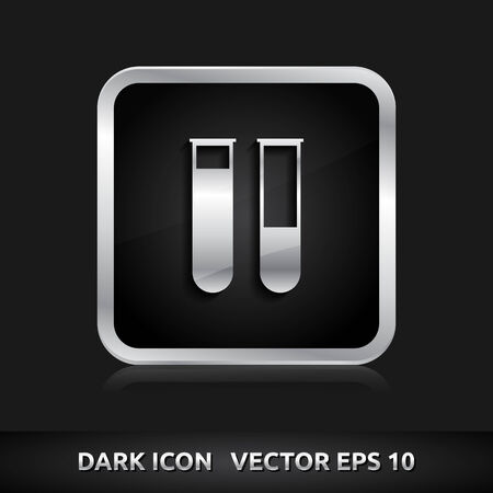Test tubes laboratory icon | color dark black silver metal grey white  Vector