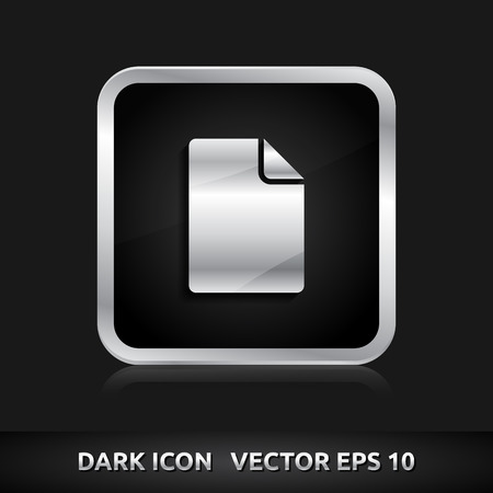 File paper document icon | color dark black silver metal grey white Vector